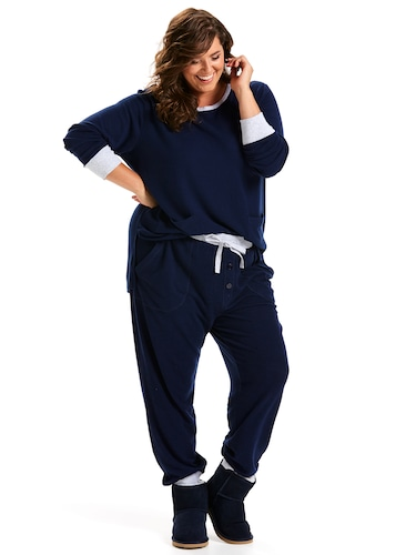 P.A. Plus Navy Fuzzy Easy Pj Pant