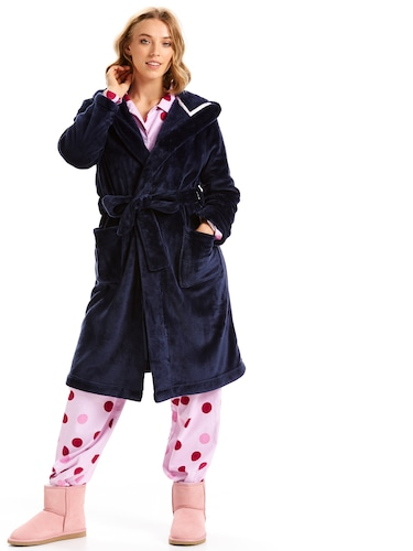 Navy Fleece Hooded Gown