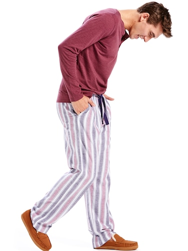 Mens Faded Plum Stripe Flannelette Pj Pant
