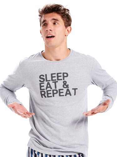 Mens Sleep Eat Repeat Long Sleeve Tee