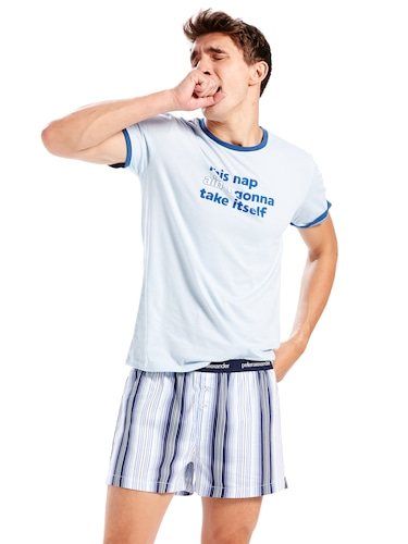 Mens Blue Stripe Boxer Short