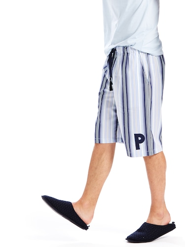 Mens Blue Stripe Sleep Short