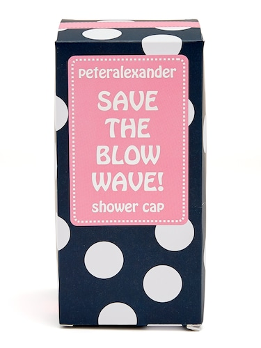 Navy Spot Shower Cap